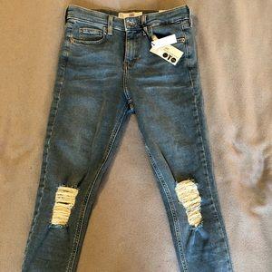 Topshop Jamie High Waist Ankle Grazer Moto Jeans